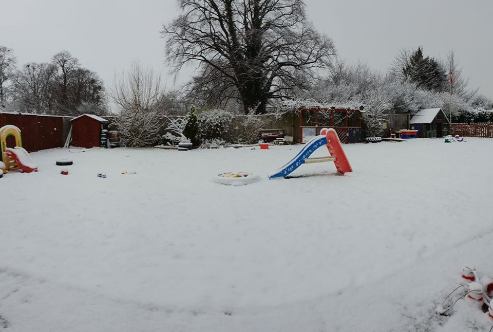 preschool garden in the snow